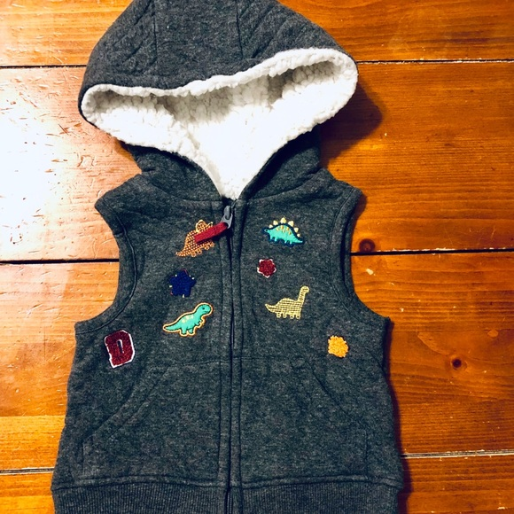Other - Baby boy hooded vest w dinosaur patches 12mo